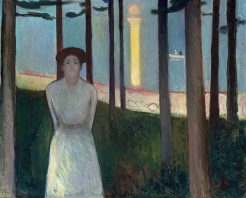 Edvard Munch. <em>Summer Night's Dream (The Voice)</em>, 1893. Oil on canvas 34 5/8 x 42 1/2 in (87.9 x 108 cm). Museum of Fine Arts, Boston. Ernest Wadsworth Longfellow Fund, 59.301 (c) 2006 The Munch Museum/The Munch-Ellingsen Group/Artists Rights Society (ARS), New York.