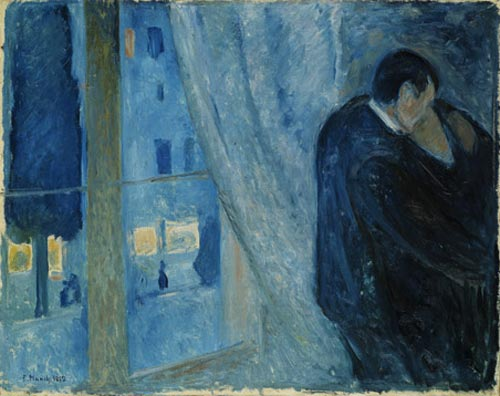 Edvard Munch. <em>The Kiss</em>, 1892. Oil on canvas 28 3/4 x 36 1/4 in (73 x 92 cm). The National Museum of Art, Architecture, and Design/National Gallery, Oslo (c) 2006 The Munch Museum/The Munch-Ellingsen Group/Artists Rights Society (ARS), New York.