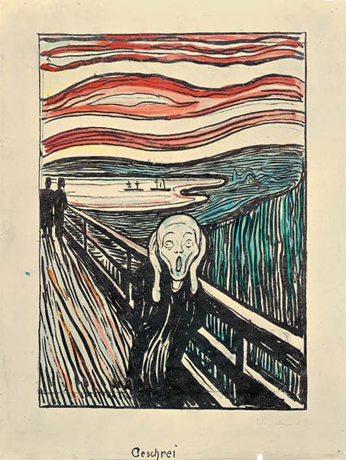 Edvard Munch. <em>The Scream</em>, 1895. Lithograph with watercolor additions. Comp: 13 15/16 x 9 13/16 in (35.2 x 25 cm); Sheet: 17 x 12 13/16 in (43.2 x 32.5 cm). Munch Museum, Oslo (c) 2006 The Munch Museum/The Munch-Ellingsen Group/Artists Rights Society (ARS), New York.