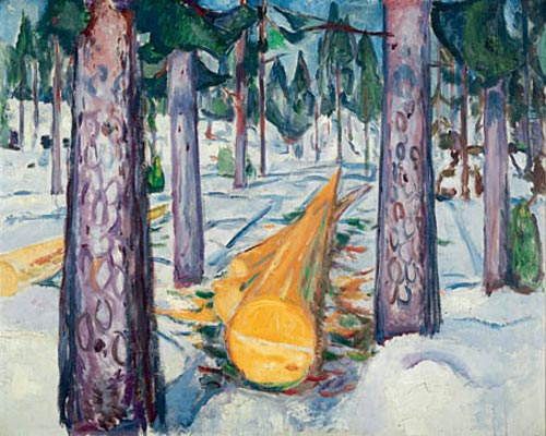 Edvard Munch. <em>The Yellow Log</em>, 1911-12. Oil on canvas 50 13/16 x 63 3/16 in (129 x 160.5 cm). Munch Museum, Oslo (c) 2006 The Munch Museum/The Munch-Ellingsen Group/Artists Rights Society (ARS), New York.