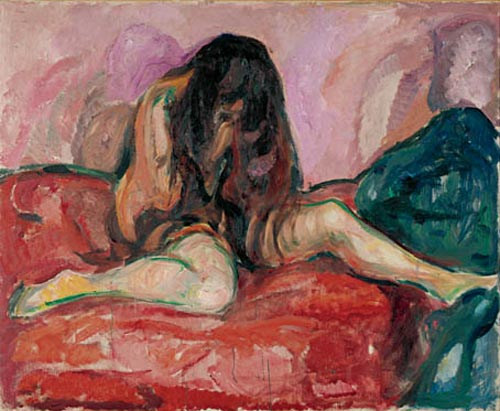 Edvard Munch. <em>Weeping Nude</em>, 1913. Oil on canvas 43 1/2 x 53 1/8 in (110.5 x 135 cm). Munch Museum, Oslo (c) 2006 The Munch Museum/The Munch-Ellingsen Group/Artists Rights Society (ARS), New York.