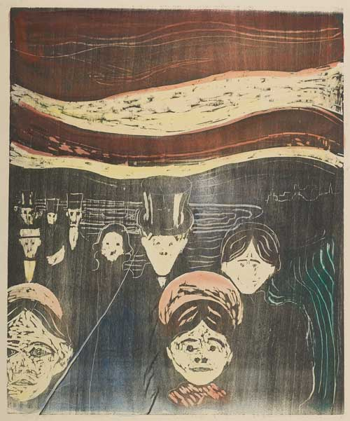 Edvard Munch. Anxiety, 1896. Hand-coloured woodcut. Courtesy the Gundersen Collection, Oslo. © Munch Museum, Oslo. Scottish National Gallery of Modern Art.