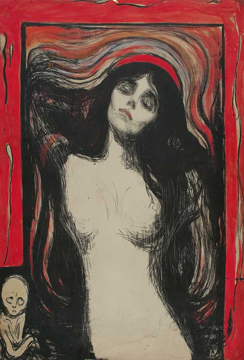 Edvard Munch. Madonna, 1895. Hand-coloured lithograph. Courtesy the Gundersen Collection, Oslo. © Munch Museum, Oslo.