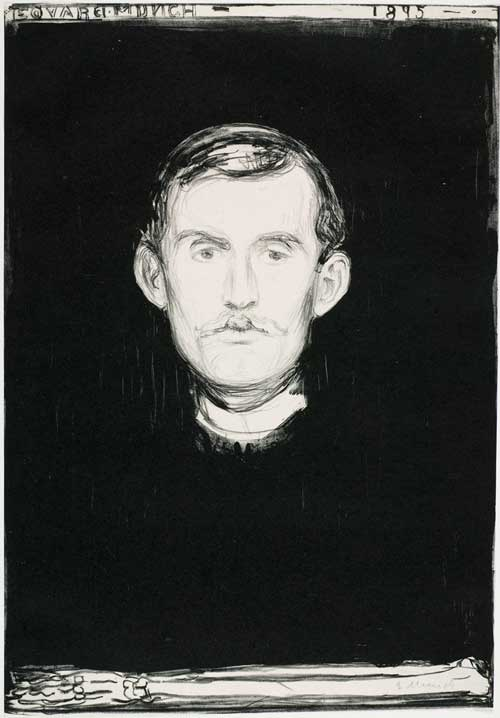 Edvard Munch. Self-portrait with Skeleton, 1895. Lithograph, 45.5 x 31.7 cm. Courtesy the Gundersen Collection, Oslo. © Munch Museum, Oslo.