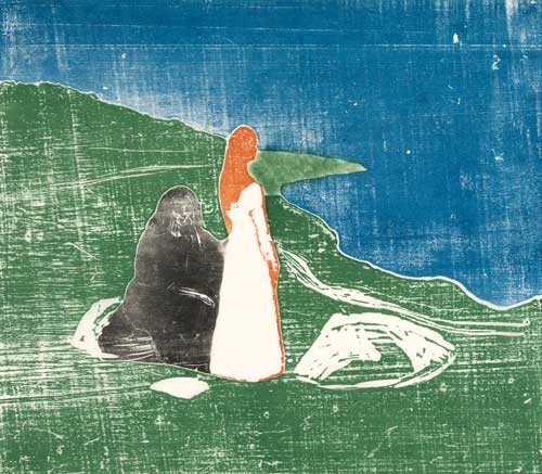 Edvard Munch. Two Women on the Shore, 1898. Woodcut. Courtesy the Gundersen Collection, Oslo. © Munch Museum, Oslo.