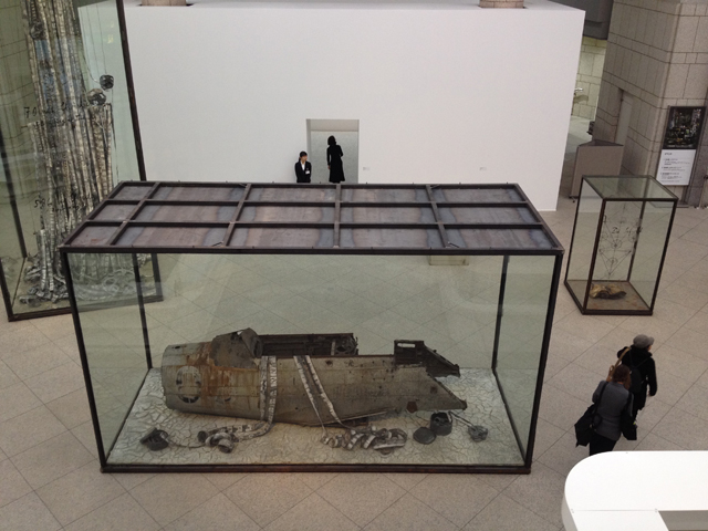 Anselm Kiefer. Merkaba, 2010; Zhang Huan. Hero No. 1, 2008. Sculpture court gallery view.