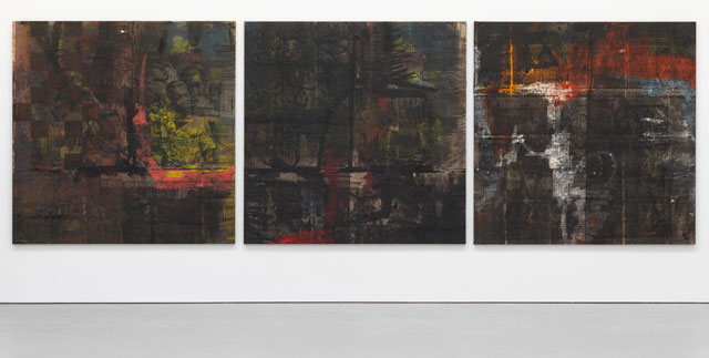 Oscar Murillo. out of many, one people, 2015-2016. Oil, oil stick, and graphite on canvas and linen, each canvas 78 3/4 x 78 3/4 in (200 x 200 cm). Courtesy the artist and David Zwirner, New York/London.