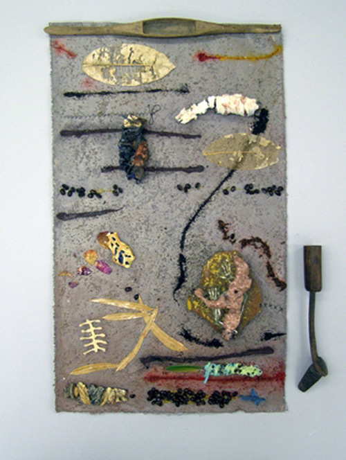 Sana Musasama. I Wonder, 2010. Ceramic and mixed media on painted canvas, 29.5 x 20.5 in. Courtesy of the artist and the June Kelly Gallery, NY.