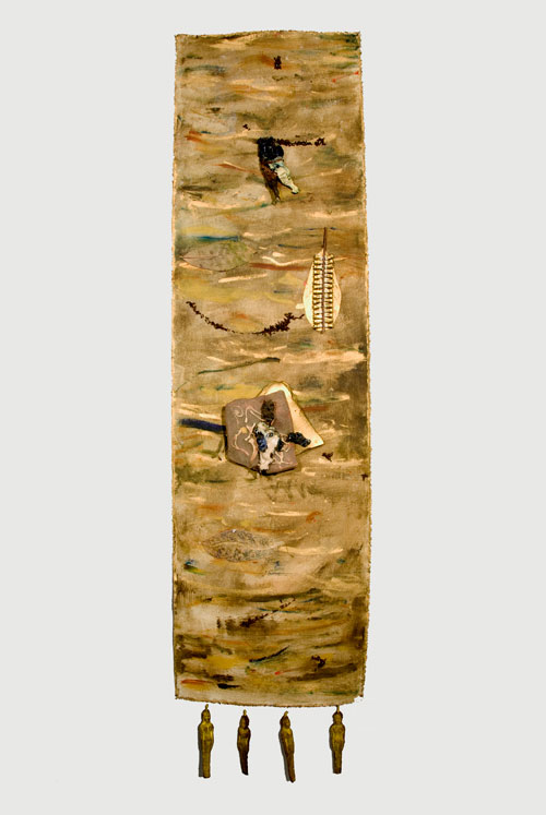 Sana Musasama. They Raped the Mountains for the Gold, 2007-10. Ceramic and mixed media on painted canvas, 60 x 17 in. 