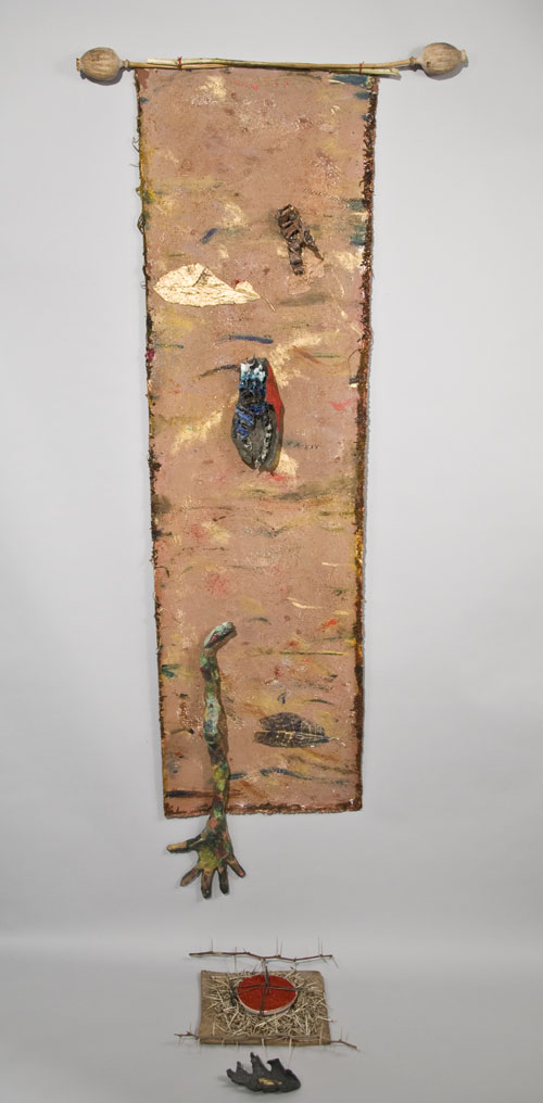 Sana Musasama. Ten Fingers Your Hands Are Tools, 2008-10. Ceramic and mixed media on painted canvas, 59 x 19 in. Courtesy of the June Kelly Gallery, NY.