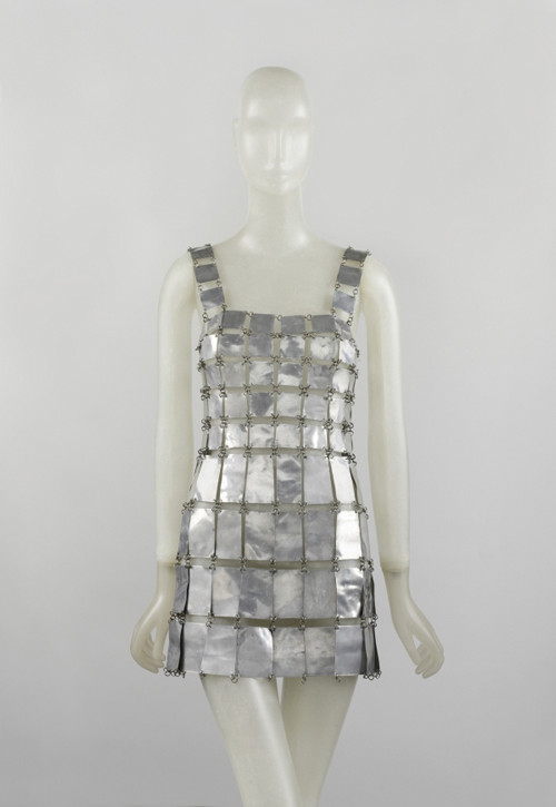 Paco Rabanne (French, born Spain, 1934) Dress, 1967 Metal chain-linked armor-plated mini dress formed from square metal plates linked by metal loops. Courtesy of The Metropolitan Museum of Art, Gould Family Foundation, 2008.