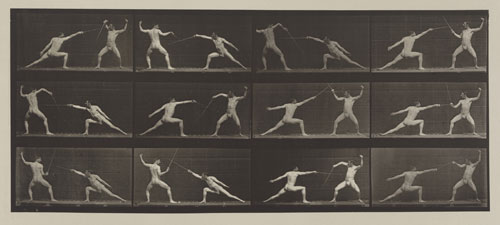 Eadweard Muybridge. <em>Fencing. (Movements. Male). Plate 349, </em>1887. Corcoran Gallery of Art, Washington, D.C., Museum Purchase, 87.7.334.