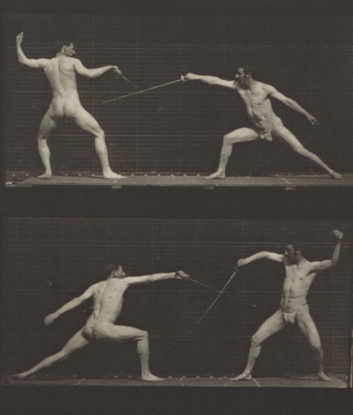 Eadweard Muybridge. <em>Fencing. (Movements. Male). Plate 349, </em>(detail) 1887. Corcoran Gallery of Art, Washington, D.C., Museum Purchase, 87.7.334.