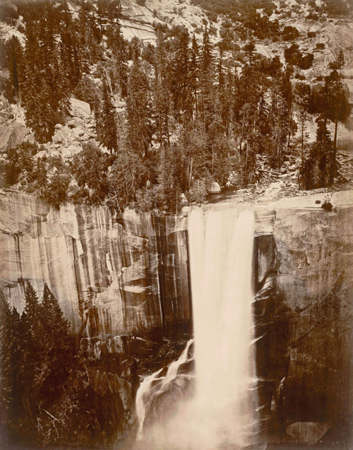 "Eadweard Muybridge. <em>Pi-Wi-Ack. Valley of the Yosemite. (Shower of Stars) ""Vernal Fall."" 400 Feet Fall. No. 29, </em>1872. San Francisco Museum of Modern Art. Accessions Committee Fund and gift of Jeffrey Fraenkel and Frish Brandt."