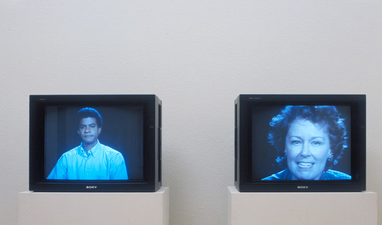 Bruce Nauman. Good Boy Bad Boy, 1985. Video, 2 monitors, colour and audio (mono), 60 min, 52sec. Tate: Purchased 1994. © ARS, NY and DACS, London 2020 .