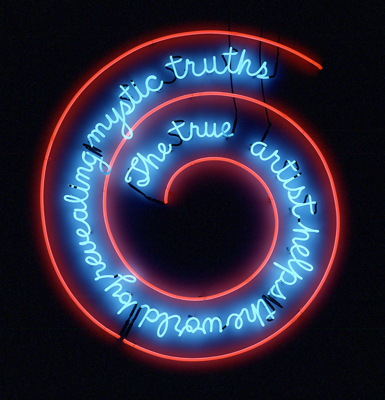 Bruce Nauman. The True Artist Helps the World by Revealing Mystic Truths (Window or Wall Sign), 1967. Neon tubing with clear glass tubing suspension frame, 149.9 x 139.7 x 5.1 cm. Kunstmuseum Basel. © Bruce Nauman / ARS, NY and DACS, London 2020, Courtesy Sperone Westwater, New York.