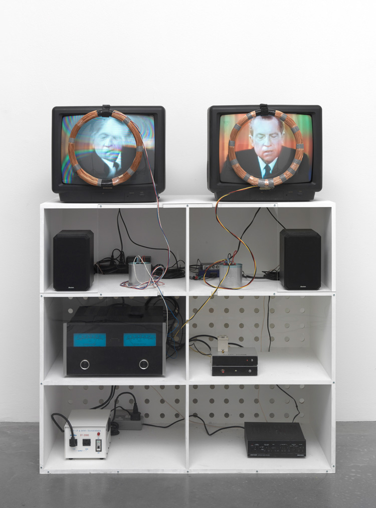 Nam June Paik. Nixon, 1965-2002. Video, 2 monitors, black and white and colour, sound and magnetic coils. 10min, 51sec. Tate, Purchased with funds provided by Hyundai Motor Company. Photo: © Tate.