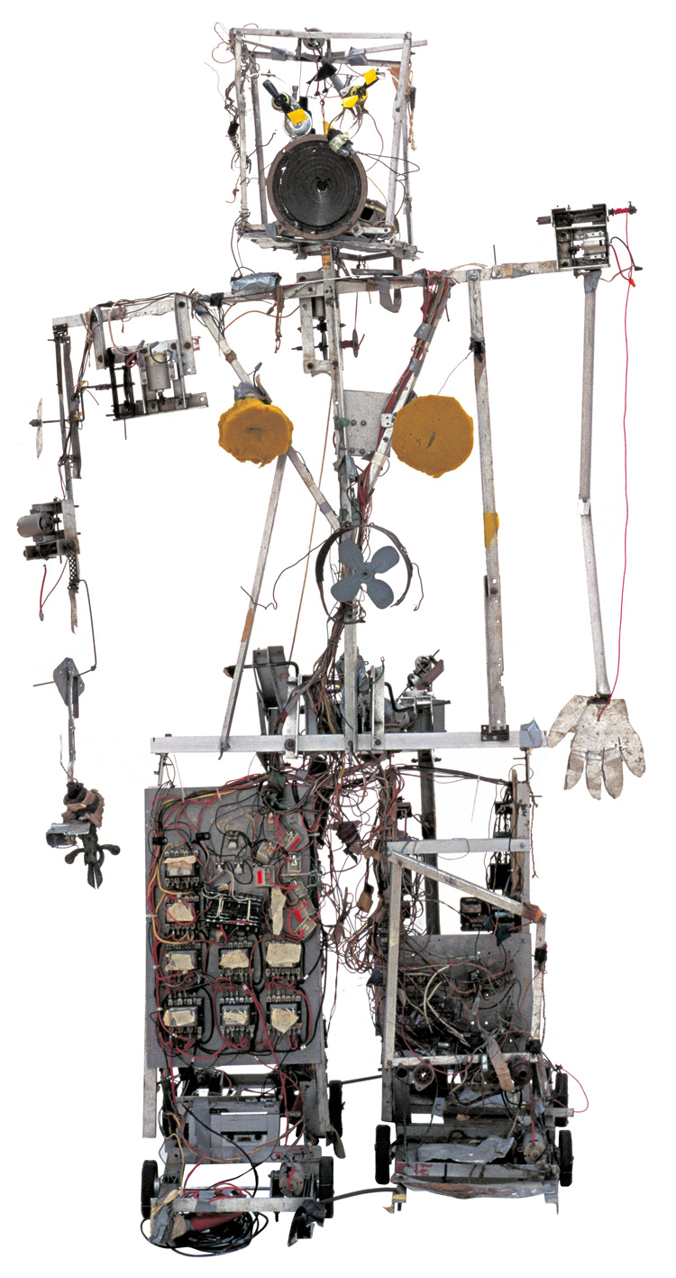 Nam June Paik. Robot K-456, 1964. Aluminium, wire, wood, electrical parts, foam and radio-control devices, 183 x 103 x 72 cm. Friedrich Christian Flick Collection in Hamburger Bahnhof, Berlin.