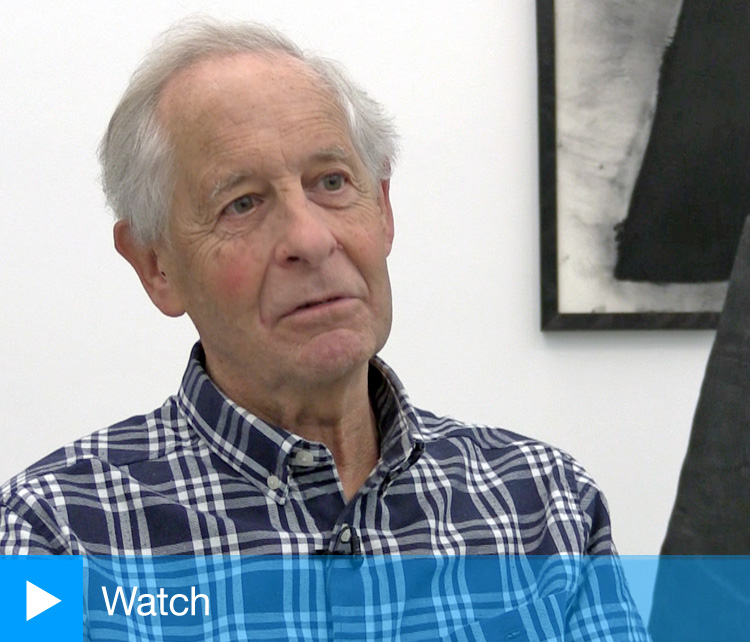 David Nash speaking to Studio International during the installation of his exhibition 200 Seasons at Towner Art Gallery, Eastbourne, 23 September 2019. Photo: Martin Kennedy.