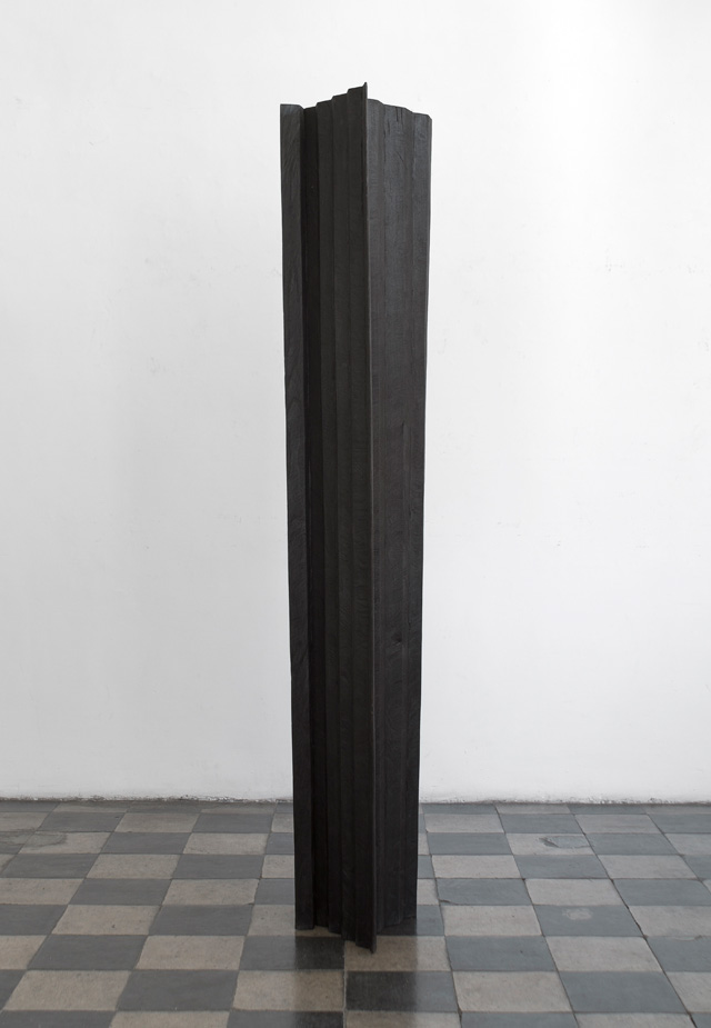 Nunzio, Untitled, 2013. Combustion on wood, 212 x 46 x 47 cm. Courtesy Mazzoleni, London-Torino.