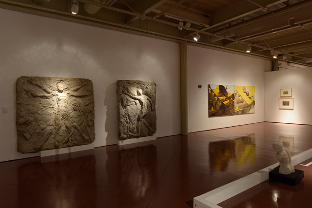 Installation view with two panels from Momentum Mortis original installation at Phyllis Kind Gallery, 1990, and a painting Double Vision, 1988. Photo: Peter Jacobs © 2019 Irina Nakhova.
