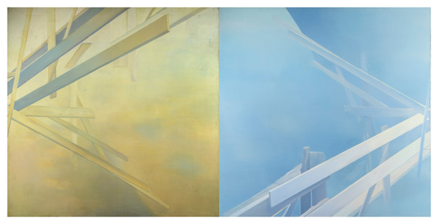 Irina Nakhova, Scaffolding, 1984. Diptych. Oil on canvas. Norton and Nancy Dodge Collection of Nonconformist Art from the Soviet Union, Collection Zimmerli Art Museum. Photo: Peter Jacobs © 2019 Irina Nakhova.