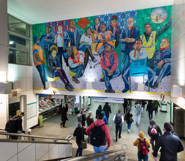 Aliza Nisenbaum, London Underground: Brixton Station and Victoria Line Staff, 2019. Commissioned by Art on the Underground. Photo: Angus Mill.