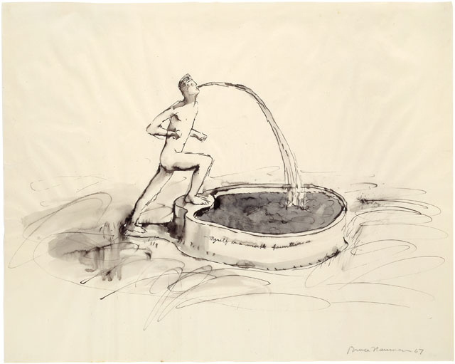 Bruce Nauman. Myself as a Marble Fountain, 1967. Ink with wash, 19 × 24 in (48.3 × 61 cm). Emanuel Hoffmann Foundation, on permanent loan to the Öffentliche Kunstsammlung Basel. © 2018 Bruce Nauman/Artists Rights Society (ARS), New York. Photo: Kunstmuseum Basel, Martin P. Bühler.