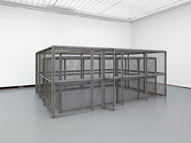 Bruce Nauman. Double Steel Cage Piece, 1974. Steel, 84 11⁄16 × 154 5⁄16 × 204 11⁄16 in (216 × 392 × 520 cm). Museum Boijmans van Beuningen, Rotterdam. © 2018 Bruce Nauman/Artists Rights Society (ARS), New York. Photo: Jannes Linders, Rotterdam.