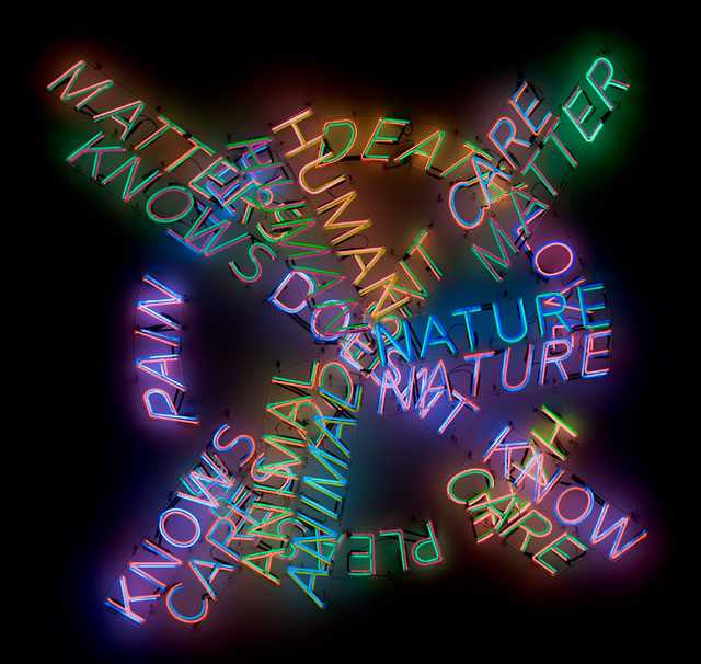 Bruce Nauman. Human Nature/Life Death/Knows Doesn't Know, 1983. Neon tubing with clear glass tubing suspension frames, 107 1/2 × 107 × 5 3/4 in (273.1 × 271.8 × 14.6 cm). Los Angeles County Museum of Art, Modern and Contemporary Art Council Fund. © 2018 Bruce Nauman/Artists Rights Society (ARS), New York. Photo © Museum Associates/LACMA.