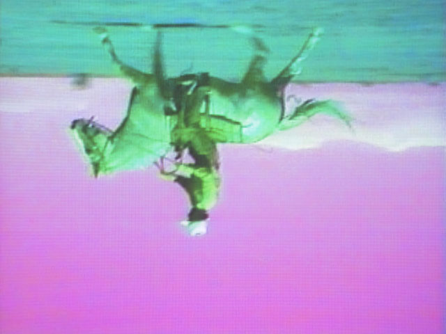 Bruce Nauman. Still from Green Horses, 1988. Video installation (colour, 59:40 min.) with two colour video monitors, two DVD players, video projector, and chair, dimensions variable. Purchased jointly by the Albright-Knox Art Gallery, with funds from the Bequest of Arthur B. Michael, by exchange; and the Whitney Museum of American Art, New York, with funds from the Director's Discretionary Fund and the Painting and Sculpture Committee, 2007. © 2018 Bruce Nauman/Artists Rights Society (ARS), New York. Photo: Ron Amstutz.