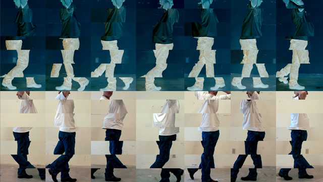 Bruce Nauman. Contrapposto Studies, i through vii, 2015/16. Seven-channel video (colour, sound, continuous duration), dimensions variable. The Museum of Modern Art, New York. Jointly owned by The Museum of Modern Art, New York, acquired in part through the generosity of Agnes Gund and Jo Carole and Ronald S. Lauder; and Emanuel Hoffmann Foundation, on permanent loan to Öffentliche Kunstsammlung Basel. © 2018 Bruce Nauman/Artists Rights Society (ARS), New York. Photo courtesy the artist and Sperone Westwater, New York.