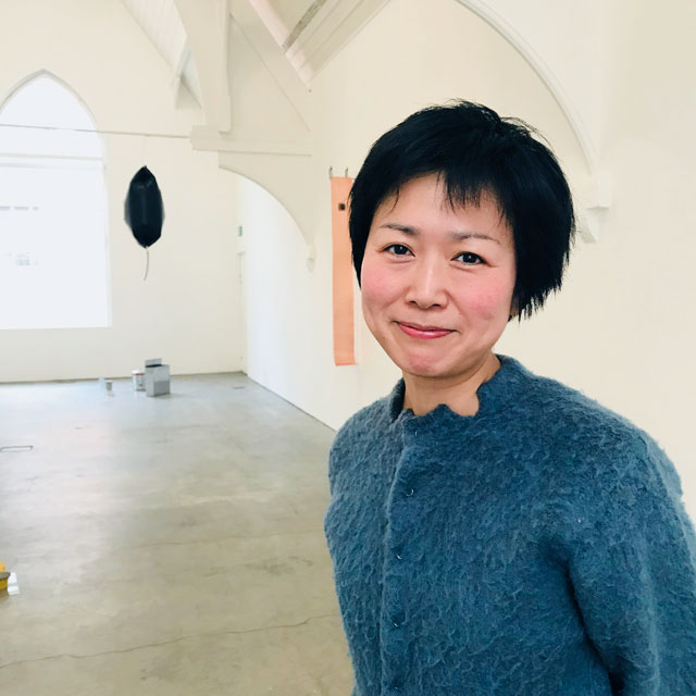 Rie Nakajima before the opening of  her exhibition Cyclic at Ikon, Birmingham, 20 March 2018. Photograph: Martin Kennedy.