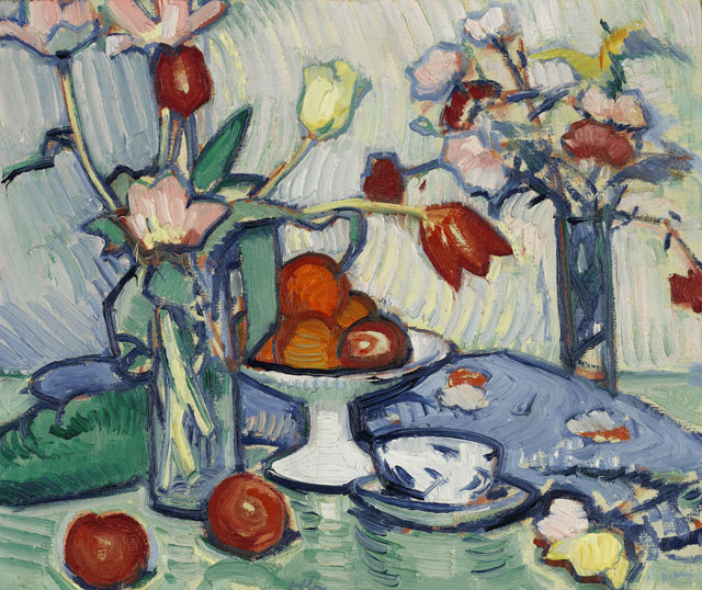 Samuel John Peploe. Tulips and Fruit, c1912. Oil on canvas, 46 x 56 cm. Private collection, courtesy Christie's.