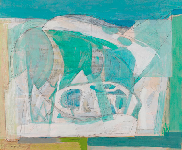 Wilhelmina Barns-Graham. Upper Glacier, 1950. Oil on canvas, 39.4 x 62.9 cm. British Council collection. Purchased from the artist 1950. © The Barns-Graham Charitable Trust.