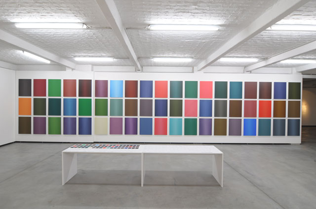 Maryam Najd. Fragment of Non Existence Flag Project. Installation view at Kunstlerhaus Bethanien 2012. Acrylic and oil on canvas, 193 canvases, each 80 x 60 cm. Image courtesy Maryam Najd.