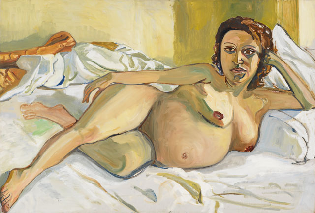 Alice Neel. Pregnant Maria, 1964. Oil on canvas, 32 x 47 cm (12 5/8 x 18 1/2 in). Private collection. © The Estate of Alice Neel. Courtesy David Zwirner, New York/London and Victoria Miro, London.