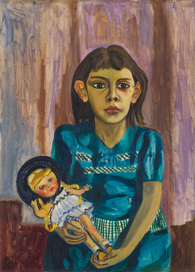 Alice Neel. Julie and the doll, 1943. Oil on canvas, 71.4 x 51.4cm (28 1/8 x 20 1/4 in). © The Estate of Alice Neel. Courtesy David Zwirner, New York/London and Victoria Miro, London.