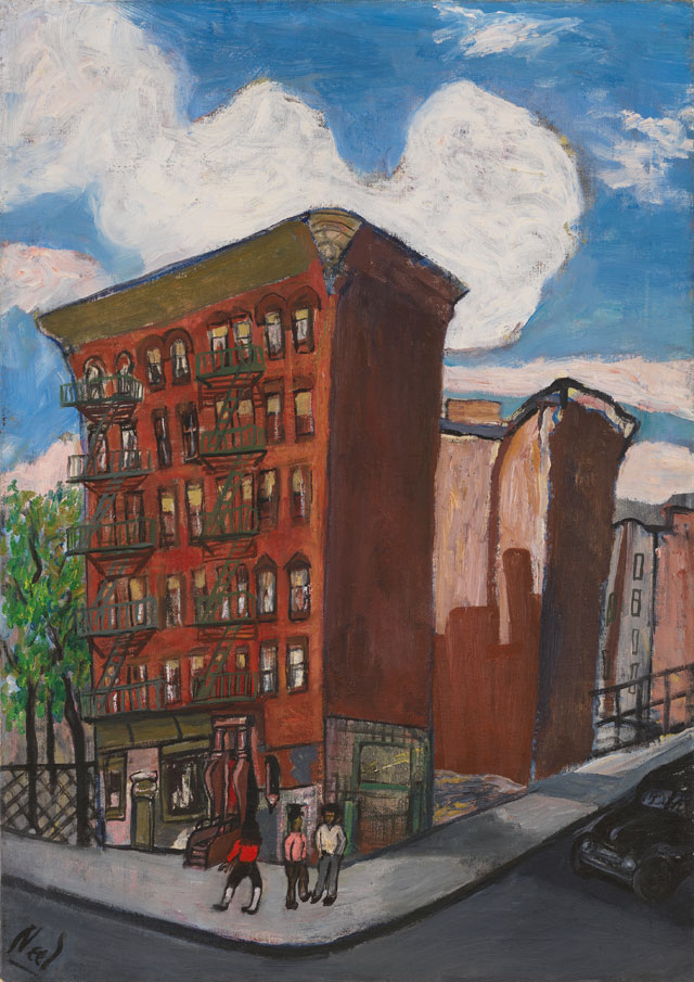Alice Neel. Building in Harlem, 1945. Oil on canvas, 105.7 x 80.3 x 3.8 cm (41 5/8 x 31 5/8 x 1 1/2 in). © The Estate of Alice Neel. Courtesy David Zwirner, New York/London and Victoria Miro, London.
