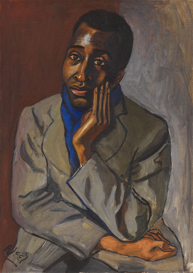 Alice Neel. Harold Cruse, c1950. Oil on canvas, 94 x 55.9 cm (37 x 22 in). Private collection. © The Estate of Alice Neel. Courtesy David Zwirner, New York/London and Victoria Miro, London.