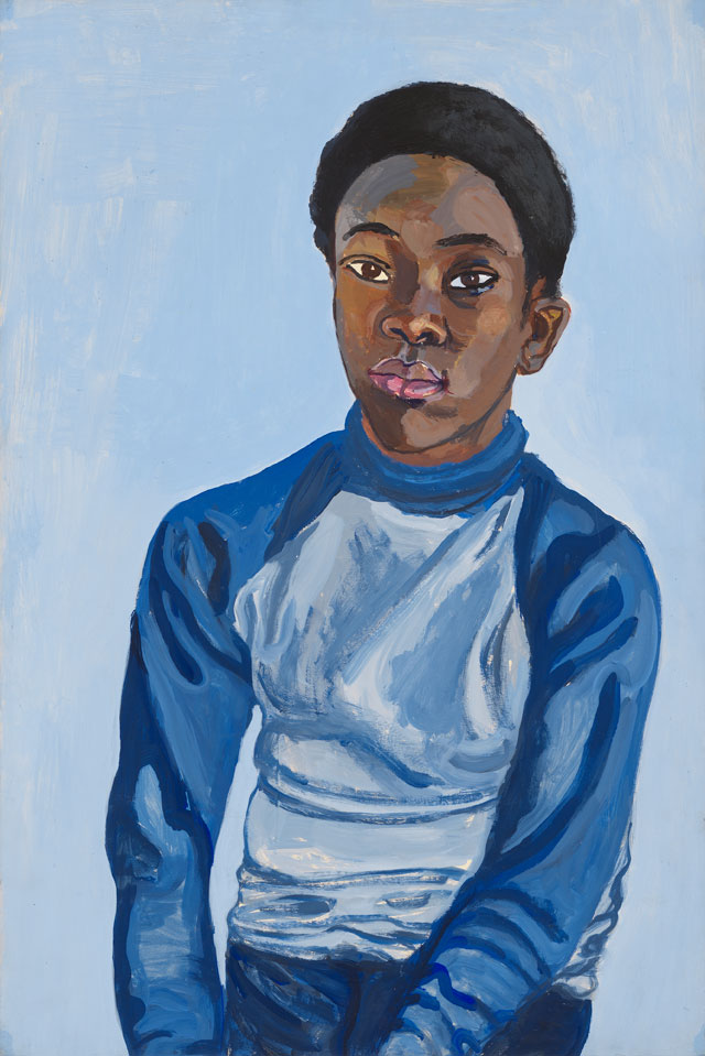 Alice Neel. Benjamin, 1976. Acrylic on board, 83.5 x 58.1 x 3.8 cm (32 7/8 x 22 7/8 x 1 1/2 in). Private collection. © The Estate of Alice Neel. Courtesy David Zwirner, New York/London and Victoria Miro, London.