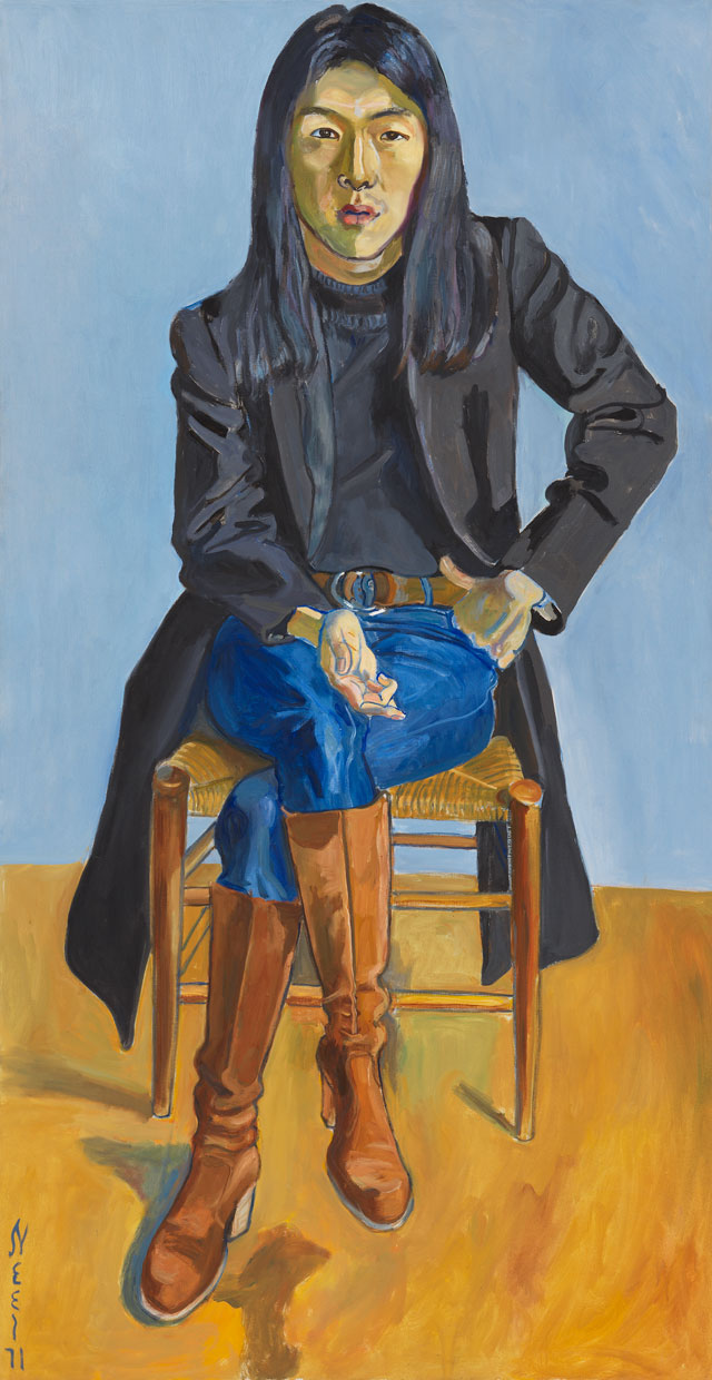 Alice Neel. Ron Kajiwara, 1971. Oil on canvas, 172.4 x 89.2 cm (67 7/8 x 35 1/8 in). © The Estate of Alice Neel. Courtesy David Zwirner, New York/London and Victoria Miro, London.