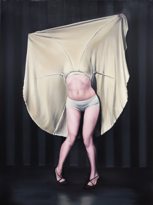 Maryam Najd. I was raised to be covered I, 2014. Oil on canvas, 200 x 150 cm. © Galerie Van De Weghe, Antwerp.