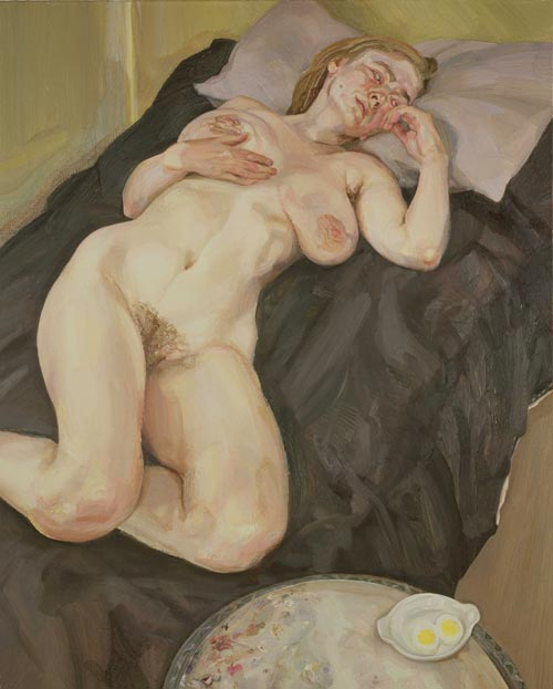 Lucian Freud. <em>Naked Girl with Egg</em>, 1980. Oil on Canvas &copy; The Artist