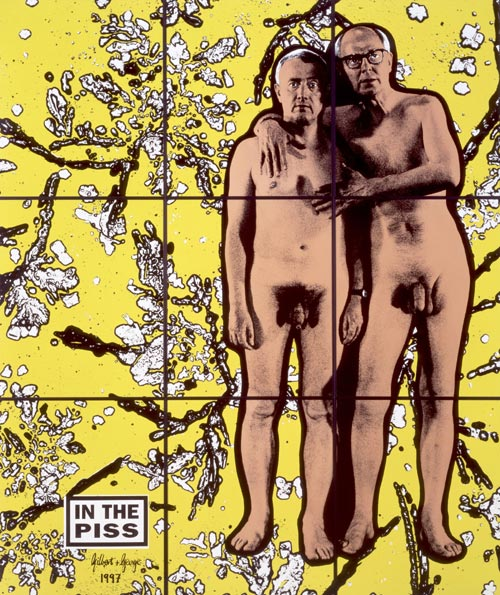 Gilbert & George. <em>In the Piss, 1997, </em>Photo-piece of nine panels © The Artist