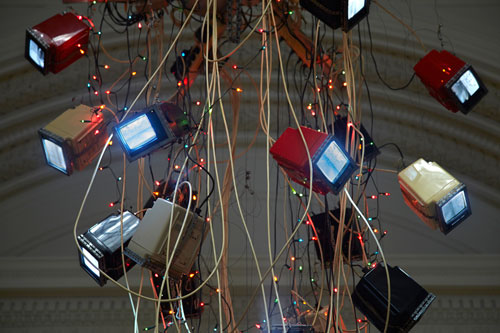 Nam June Paik. Video Chandelier No.1, (detail) 1989. Video Sculpture. Photograph: Chris Park © Talbot Rice Gallery.