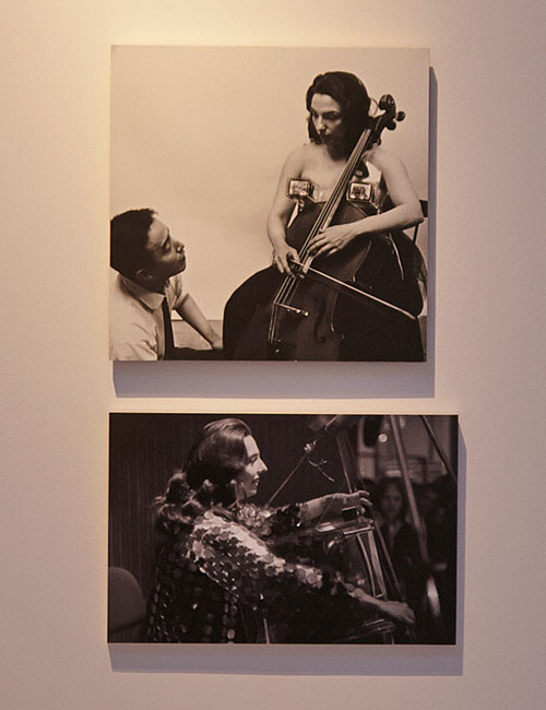 Top: Nam June Paik and Charlotte Moorman with TV Bra for Living Sculpture, 1969. Photograph, Peter Moore (c) Estate of Peter Moore/VAGA, New York. Below: Charlotte Moorman's TV Cello performance for Music of Time: Encounter with Korea at WDR, Cologne 1980. Photograph: © Erik Andersch.