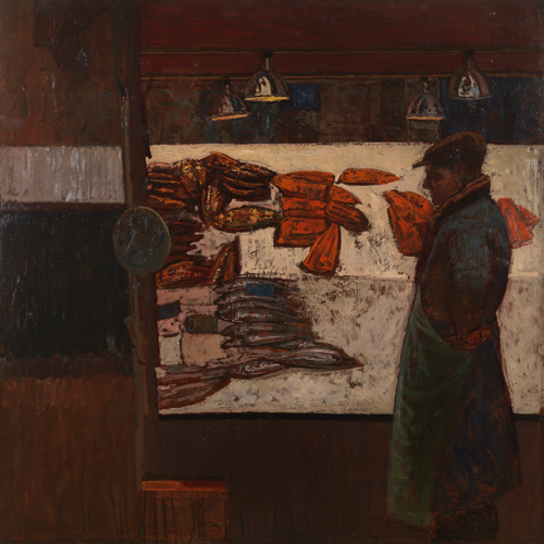 William Bowyer RA. <em>The Fishmonger,</em> 1963. Oil on board, 122 x 122 cm (48 x 48 inches).