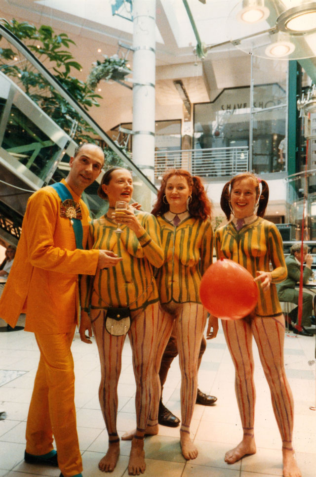 Neo Naturists, Opening a shopping centre in the Kings Road with Andrew Logan, London, 1988. Courtesy of the Neo Naturists Archive.