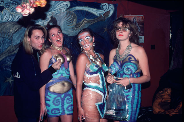 Neo Naturists,  Sellotape dresses with Marilyn, Crowndale Road, London 1984. Courtesy of the Neo Naturists Archive.